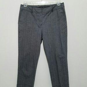 Lafayette 148 Womens Cropped Pants Striped Gray 6